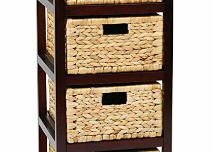 OSP Designs Office Star Seabrook 4-Tier Storage Unit with Natural Baskets, Espresso Finish Review