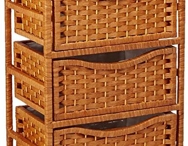 ORIENTAL FURNITURE 46″ Natural Fiber Chest of Drawers on Wheels – Honey Review