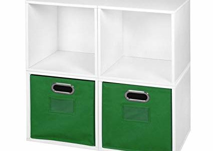 Niche PC4PKWH2TOTEGN Cubo Storage Set with 4 2 Canvas, 4 Cubes/2 Bins, White/Green Review