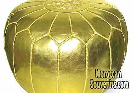 Stuffed Moroccan Pouf, Pouffe, Ottoman, Poof, Color : Gold Review