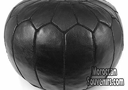 Stuffed Moroccan Pouf, Pouffe, Ottoman, Poof, Color : All Black Review