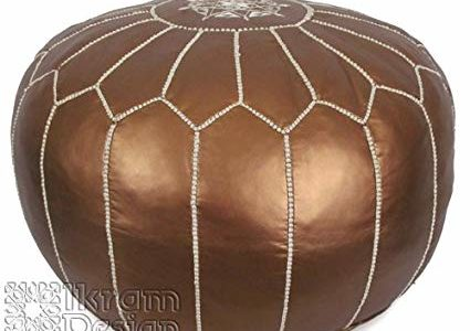 Stuffed Moroccan Pouf, Pouffe, Ottoman, Poof, Color : Matte Bronze Review