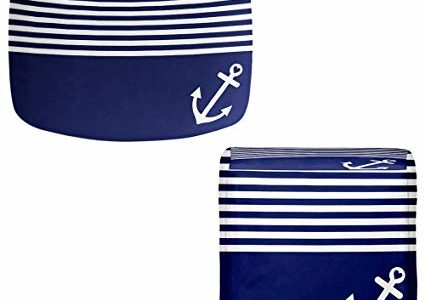 DiaNoche Designs Foot Stools Poufs Chairs Round or Square from by Organic Saturation – Navy Blue Love Anchor Nautical Review