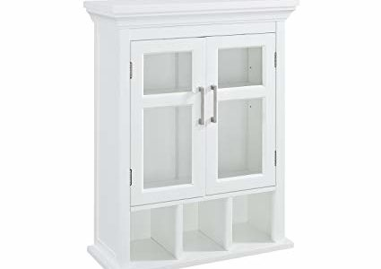 Simpli Home AXCBC-006-WH Two Door Wall Cabinet with Cubbies, White Review