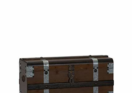Household Essentials Steel Band Wood Storage Chest, Small, Brown Review