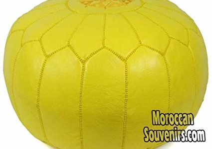 Stuffed Moroccan Pouf, Pouffe, Ottoman, Poof, Color : Yellow Review