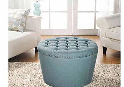 Better Homes and Gardens 'Comfortable' Round Tufted Storage Ottoman with Nailheads (Aqua) Review
