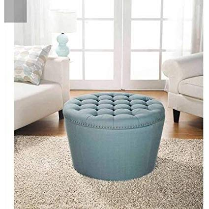 Better Homes and Gardens 'Comfortable' Round Tufted Storage Ottoman with Nailheads (Aqua)