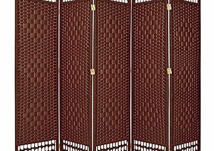 ORIENTAL FURNITURE 5 1/2 ft. Tall Fiber Weave Room Divider – DarkRed – 5 Panel Review