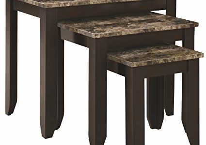 Monarch Specialties 3-Piece Marble Look Top Nesting Table Set, Tan Cappuccino Review