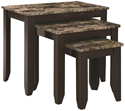 Monarch Specialties 3-Piece Marble Look Top Nesting Table Set, Tan Cappuccino