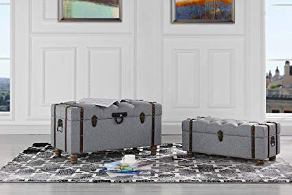 Sofamania 2-Piece Classic Tufted Linen Fabric Storage Chests/Accent Table/Bench (Grey) Review