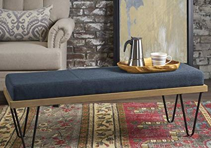 Elaina Bench | Perfect for Dining Table or Entry Way | Danish, Minimal, Mid Century Modern Design | Hairpin Leg | Fabric in Navy Blue Review