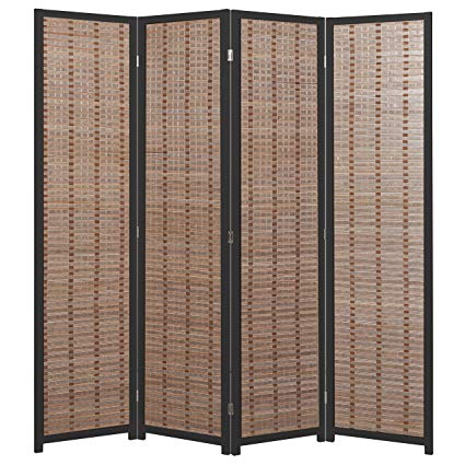 Decorative 4-Panel Bamboo & Black Wood Framed Folding Screen / Freestanding Room Divider - MyGift